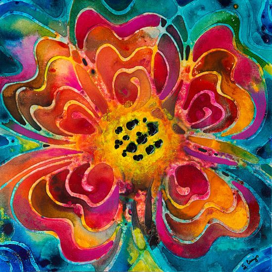 Colorful Flower Vibrant Floral Abstract Painting Pink Orange Yellow Green Blue Turquoise Texture Summer Love Sharon Cummings Artwork Romance