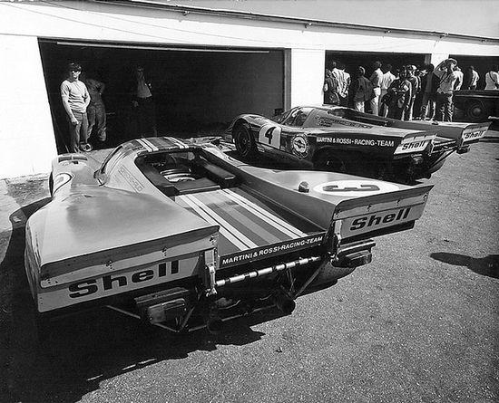 Daytona 24 Hours, 1971. Martini & Rossi Porsche 917K Team. Both cars were DNF. by Nigel Smuckatelli, via Flickr