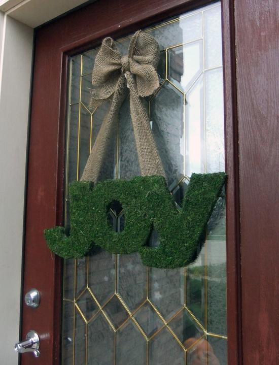 Christmas Wreath.  Moss Letter Wreath.  Holiday Wreath.