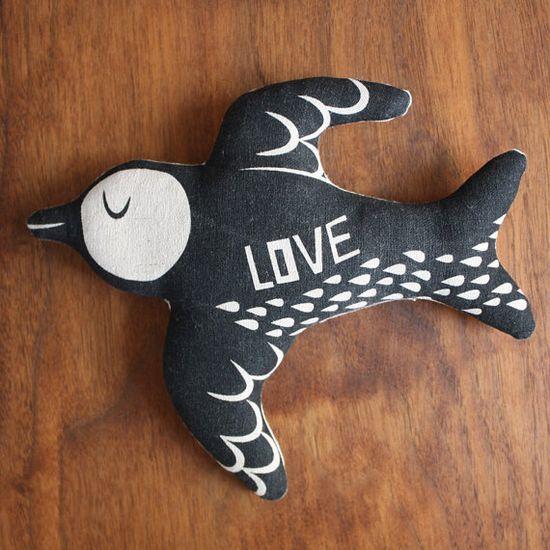 Love Bird @mia motiee Hansen #screen #print #handmade #bird #swallow #illustration #cushion #pillow #plush
