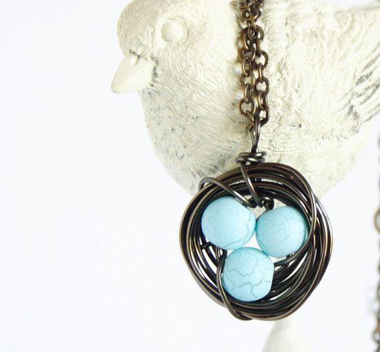 Bird Nest Necklace Blue Robins Eggs by JacarandaDesigns