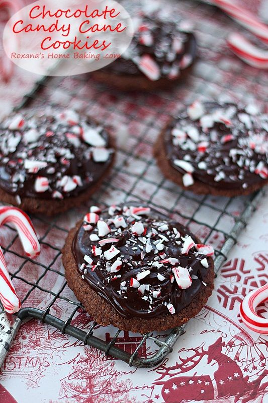 Chocolate candy cane cookies - buttery melt-in-your-mouth chocolate cookies topped with mint chocolate ganache and crushed candy cane from roxanashomebaking... #25recipestoXmas