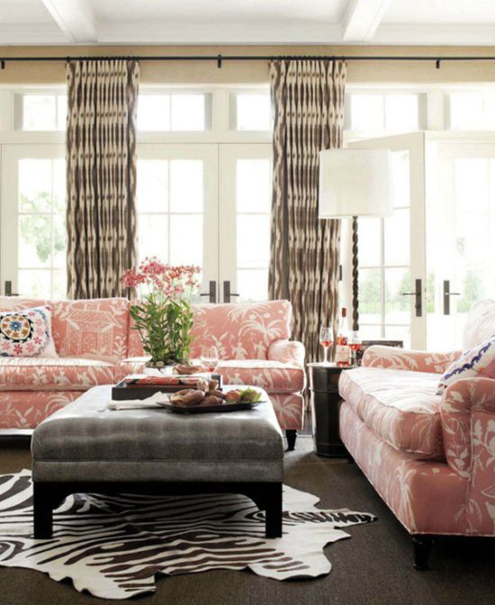 Betsy Burnham - chinoiserie sofa, soft rose and gray