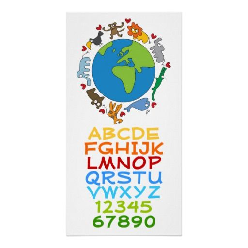 Cartoon Animals Of The World Alphabet Numbers Kids Print