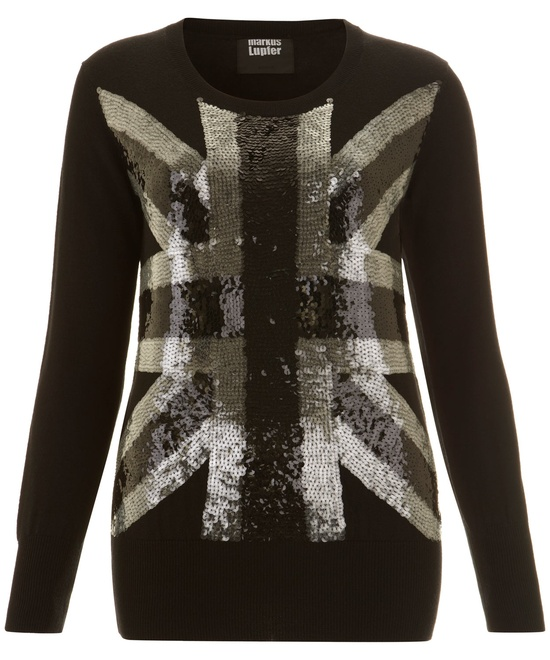 Black Union Jack Sequin Jumper, Markus Lupfer. Shop the latest Markus Lupfer collection at Liberty.co.uk