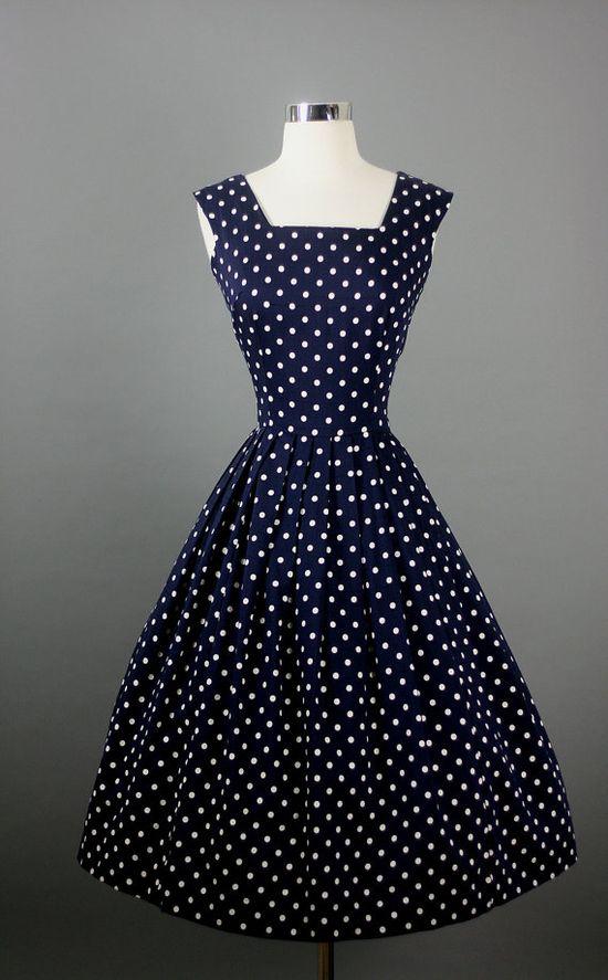 Vintage 1950s 50s Elegant Navy Polka Dots #dress #1950s #partydress #vintage #frock #silk #retro #teadress #petticoat #romantic #feminine #fashion #polkadotsprint
