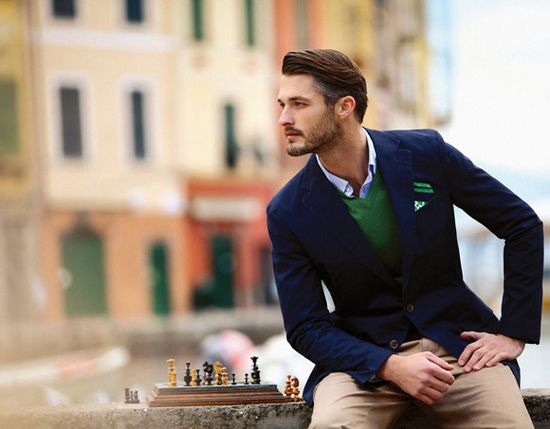 Men's fashion, love the combination of green and blue