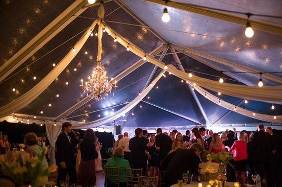 tented reception at night