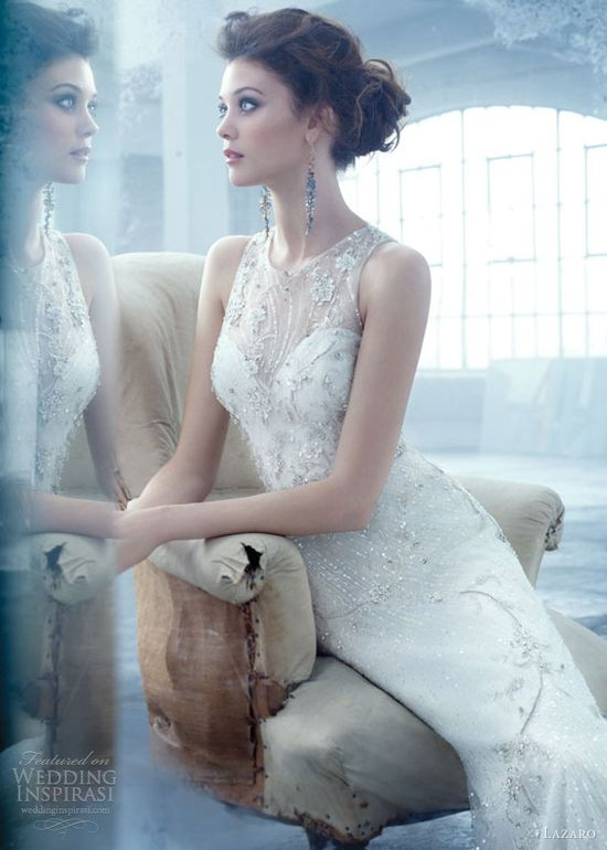 lazaro spring 2013 bridal beaded embroidered soft a line net gown illusion keyhole back lz3302