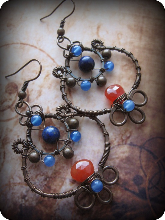 Wire Wrapped Copper Leaf  Earrings with Carnelian by Lirimaer, $34.00
