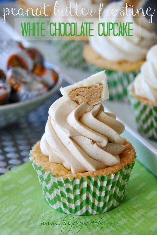 White Chocolate Cupcakes topped with Peanut butter Frosting: inspired by Reese's white chocolate PB cups #peanutbutter #Reese's www.shugarysweets...