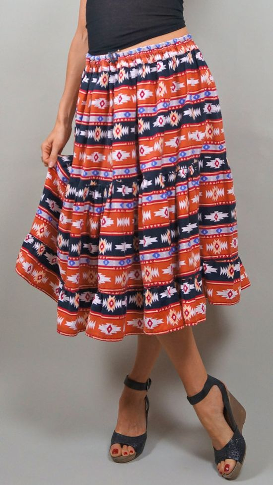 SALE// Tiered Bright Print Navajo Midi Full by LocapoxieVintage, $16.50