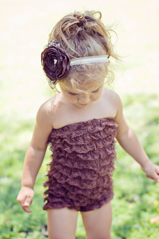 Brown ruffle lace romper with matching brown by PrettyPetalsHair