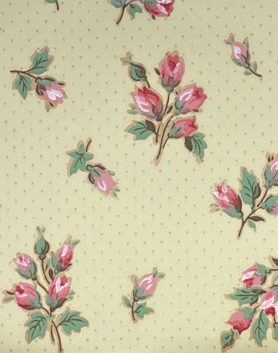 yellow vintage wallpaper with pink rosebuds