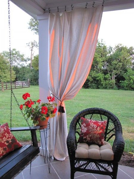 Drop cloth curtains:  The drop cloths were less than 10 dollars a piece at Home Depot.  (Remember, Home Depot drop cloths do NOT have seams down the middle, Lowe's drop cloths do.)    Here's a run down of the price of my patio curtains:    5 drop cloths -$50.00    5 sets of ring clips – $25.00    metal poles – $10.00    hooks – $6.00    primer and paint $6.00    Grand Total:  $97.00