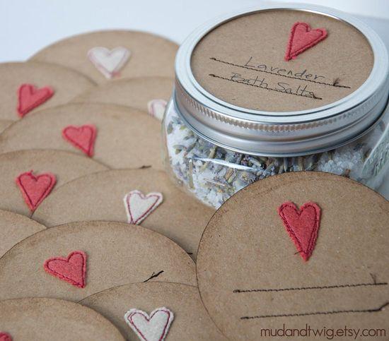 Handmade heart Mason jar gift labels