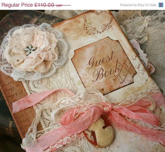 On Sale Vintage style Guest book for by youruniquescrapbook, £99.00