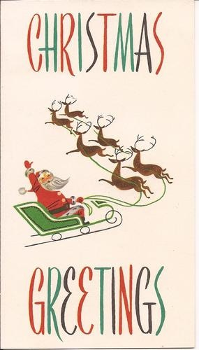 Vintage Christmas Card Santa