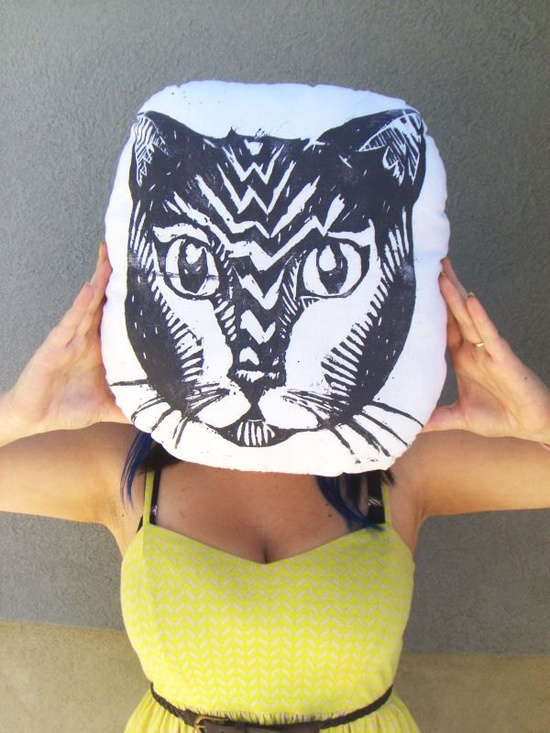 Plush Cat Pillow. Hand Woodblock Printed. 16 inches. Pick your colors.