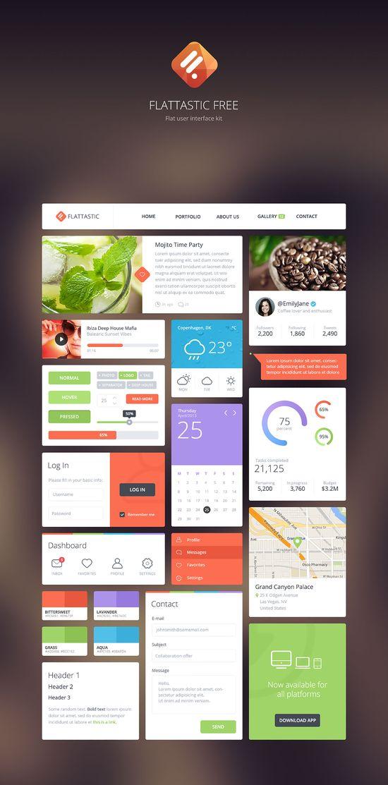 Free Download: Flattastic UI kit, designed by Vlade Dimovski #flat #ui #app #graphic #kit