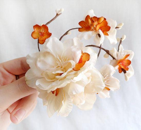 fall wedding hair accessory, ivory hair clip, cream flower - SPICE BLOSSOM - burnt orange wedding hair accessories on Etsy, $60.00