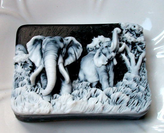 What a gorgeous soap!  Yes, this is soap! $6 #etsy #handmade #soap #elephant #blue