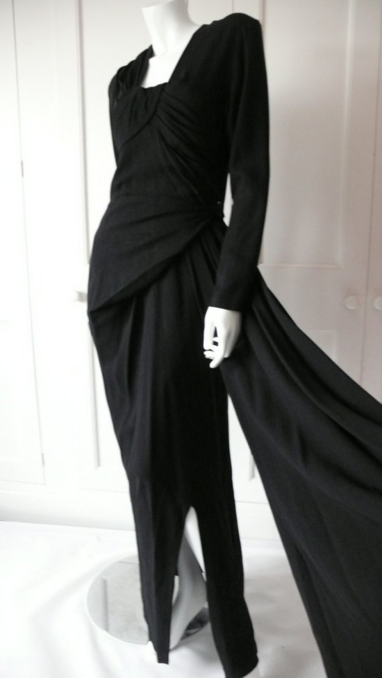 Another 1940s amazingly draped dress.