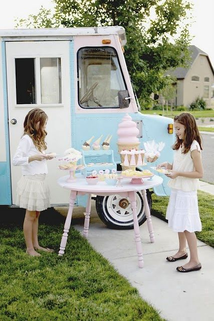 vintage ice cream and cherries party