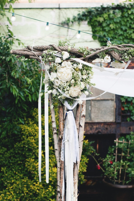 a mix of pretty flowers and eclectic ribbons on this chuppah   Photography by katieosgood.com, Wedding Planning by eapweddings.com, Floral Design by rebeccashepherdfl...