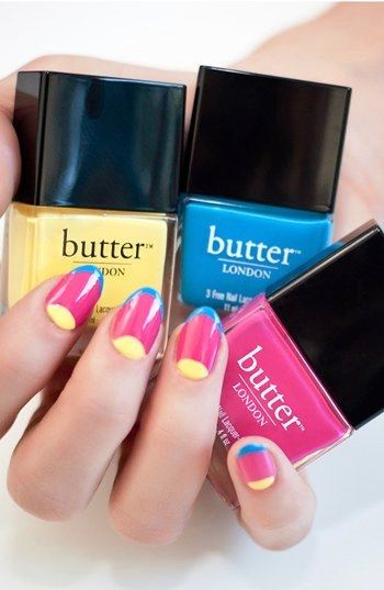 Get noticed with bright nails - love these colors...but would never paint my nails this way...