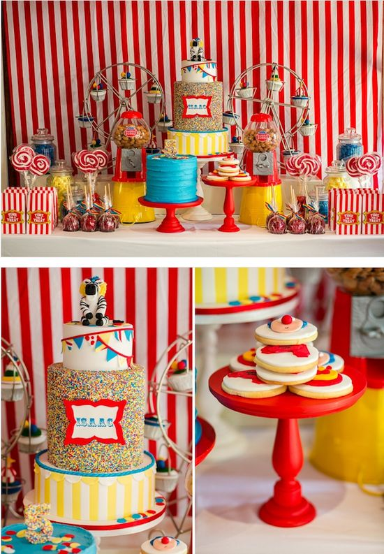 Big Top Circus Carnival themed birthday party FULL OF IDEAS! Via Karas Party Ideas KarasPartyIdeas.com #circus #carnival #fair #birthday #party #supplies #ideas #decor #idea (16)