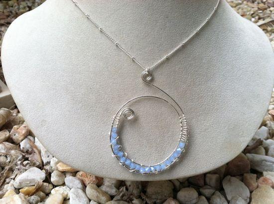 swarovski pendant necklace, jewelry, wire wrapped