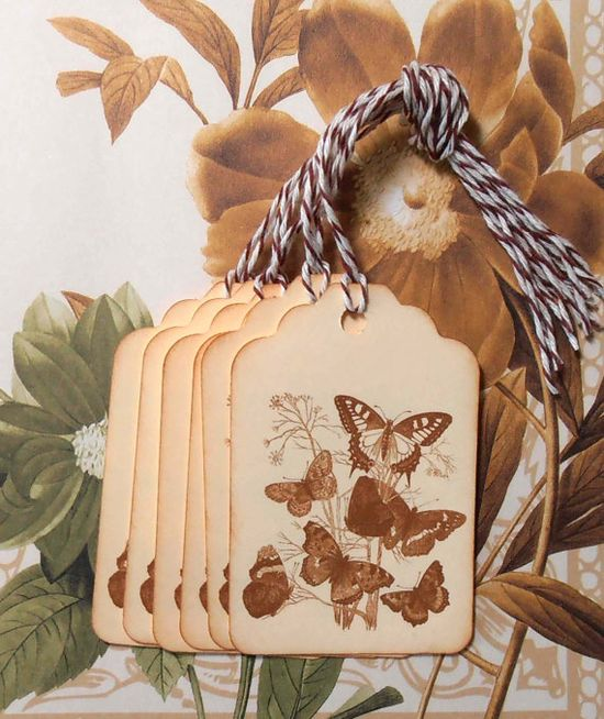 Tags Vintage Style Butterfly Butterflies Gift Tags by bljgraves, $4.00