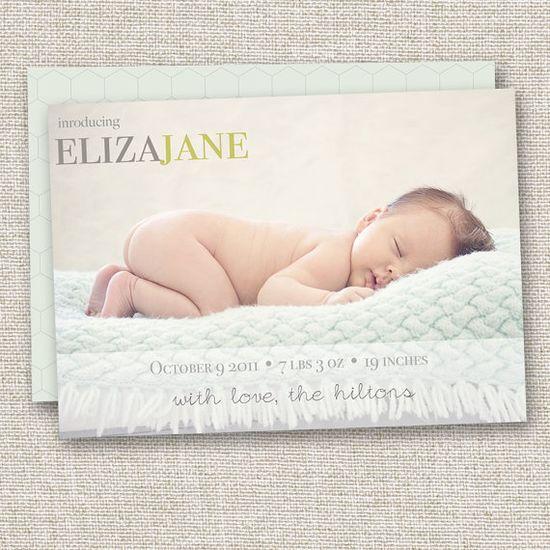 Birth Announcement, photo birth announcement, modern birth announcement, custom birth announcement, baby boy baby girl announcement. $14.95, via Etsy.