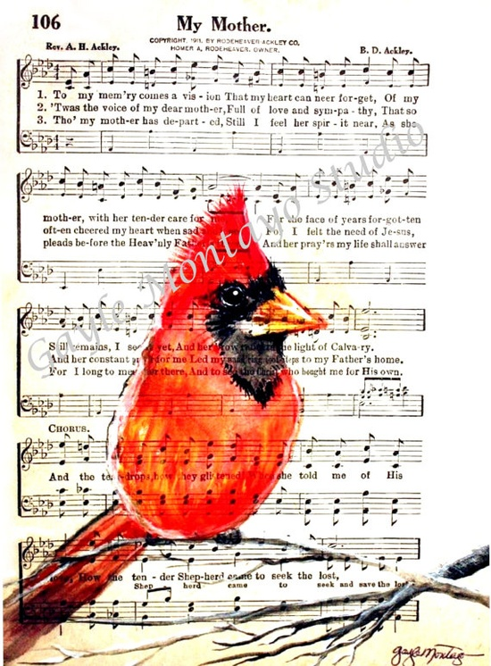 "Cardinal Print of Original artwork  ""My Mother""...  This reminds me of my mom. She loves cardinals ?"