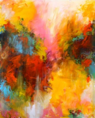 """CHRISTINE SOCCIO  Chysalis, 2012     acrylic painting on stretched canvas   48"""" h x 60"""" w x 1.5"""" d"""