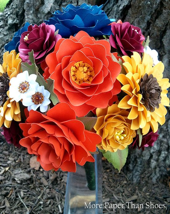 Late Summer Wedding Bouquet #paperflowers #wedding #bouquet