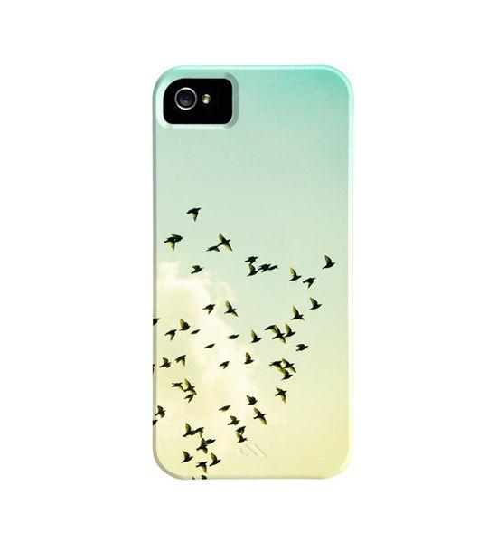 Bird iPhone Case - birds flying sky iphone 5 case - mint green yellow - cute iphone 4s case - cloud bird iphone 4 case - bird iphone 5 cover. $45.00, via Etsy.