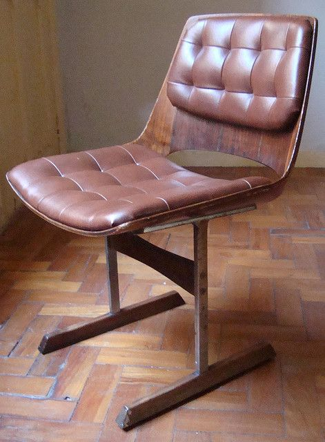 Jorge Zalszupin; Steel, Bentwood and Leather Chair, 1970s.