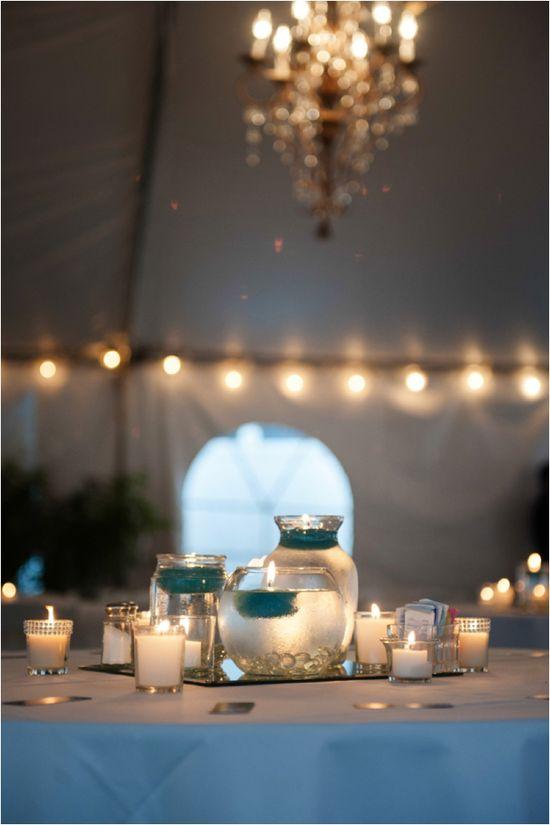 Silver and Teal Wedding Reception Decor ~ Photo: Motley Melange