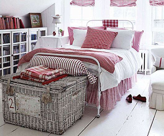 red & white country bedroom