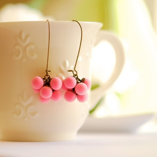 Hot pink earrings  unique handmade jewelry  pink by joojooland, $45.00
