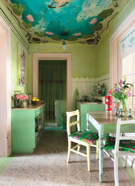 Vintage style kitchen with key Lime walls.