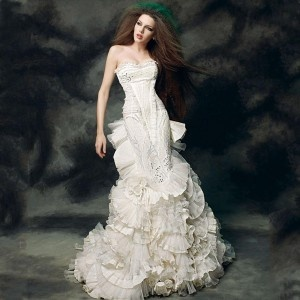 Real mermaid ivory sexy wedding dress