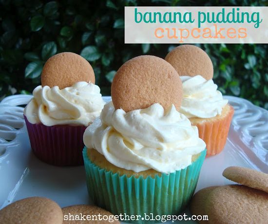 {shaken together} banana pudding cupcakes with banana cream pudding topping (and how to substitute bananas for eggs in baking)