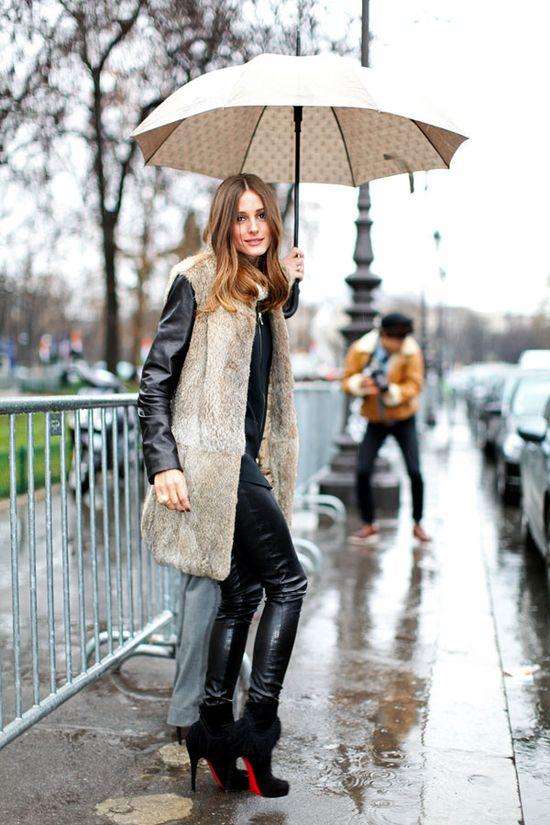 Olivia Palermo: all black...over fur...love!