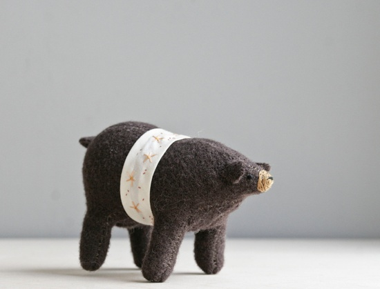 brown bear with belt