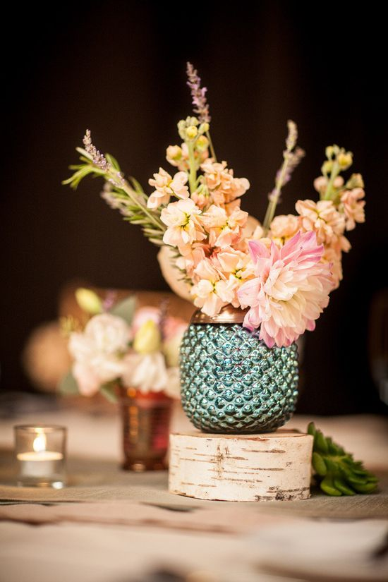 Use smaller metallic vases for your florals instead of large centerpieces - still a big impact. Photography by twinlensimages.com, Event Planning by jessiebaca.com, Floral Design by artichokesandpome..., Read more - www.stylemepretty...