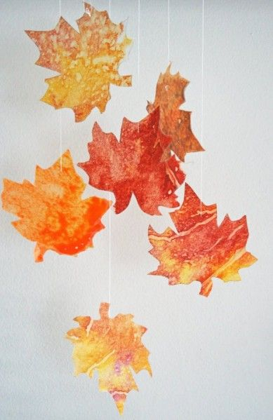 wax paper/crayon leaves