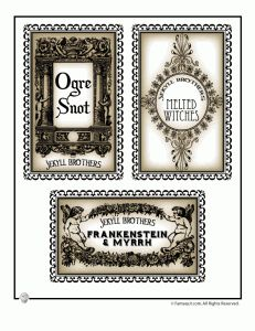 Printable Halloween Labels for Bottles and Potions